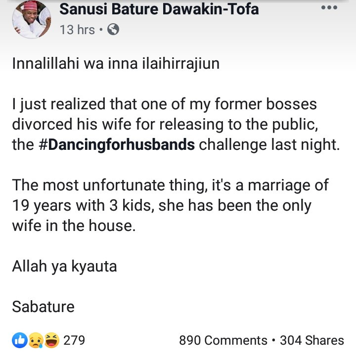 Arewa husband allegedly divorces his only wife of 19 years after she engaged in the viral