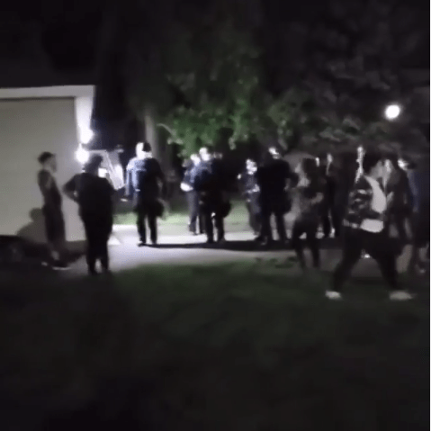 Protesters camp outside the home of the officer who knelt on George Floyd's neck until he died (video)