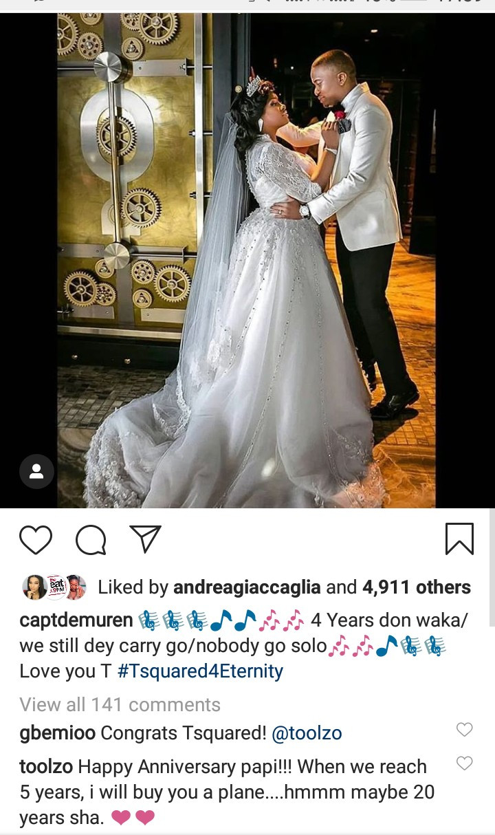 Tunde Demuren declares his love for Toolz as they mark their 4th wedding anniversary and she responds