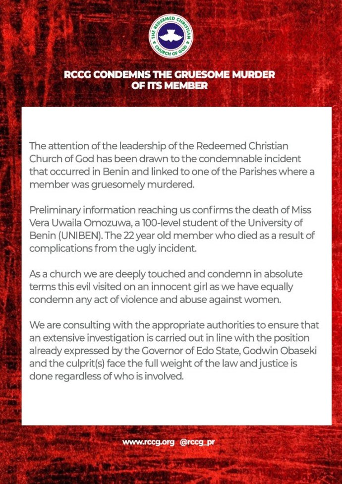 5ed427e93285b Pastor EA Adeboye reacts to the rape and murder of UNIBEN student, Uwa Omozuwa, in one of the branches of his church