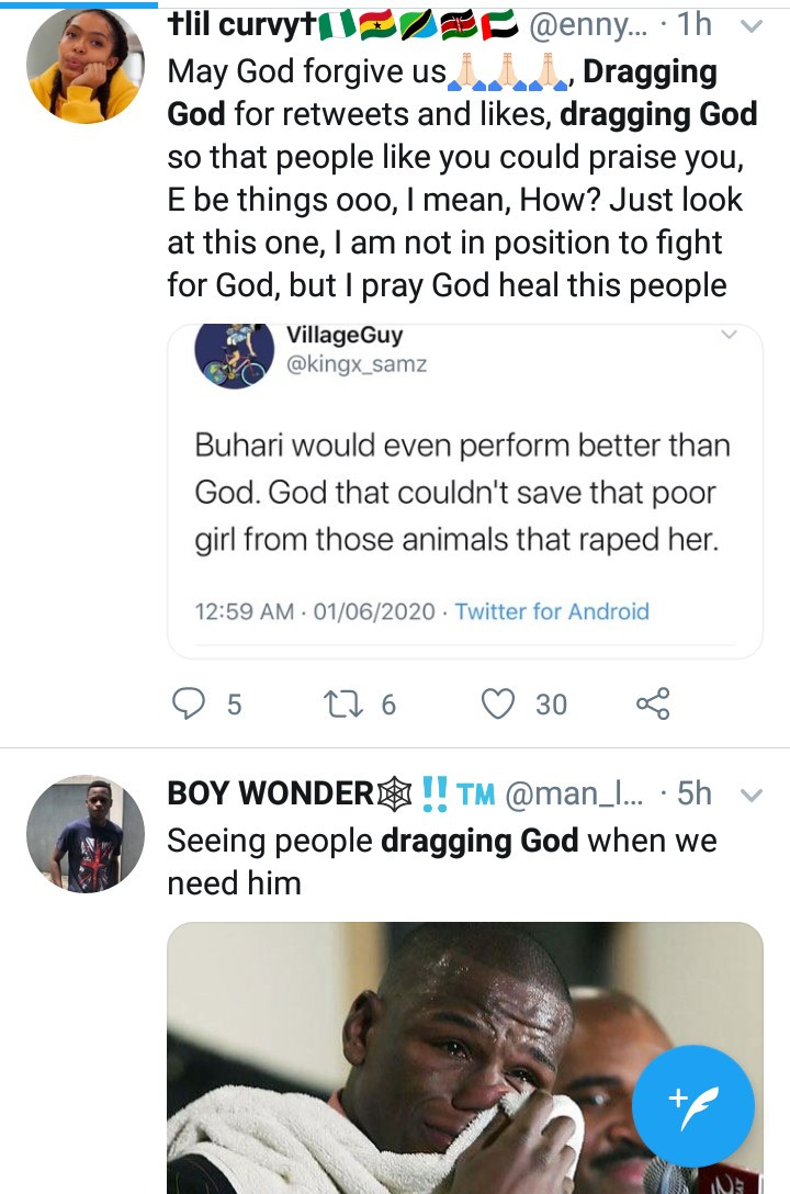 """Dragging God"" trends as Nigerians take to Twitter to blame God for the ills in the country  ""Dragging God"" trends as Nigerians take to Twitter to blame God for the ills in the country 5ed4acbce856a"