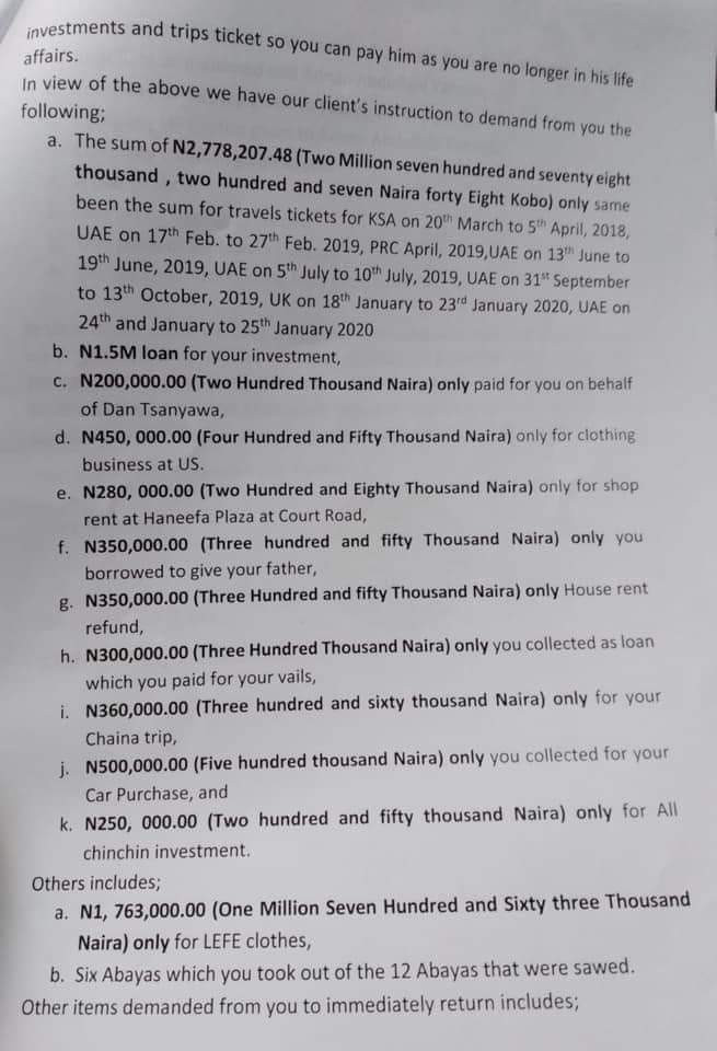 Man claiming to be the ex-boyfriend of the new wife of Customs boss drags her to court, demands refund of over N9m spent on her during their relationship(Court papers)