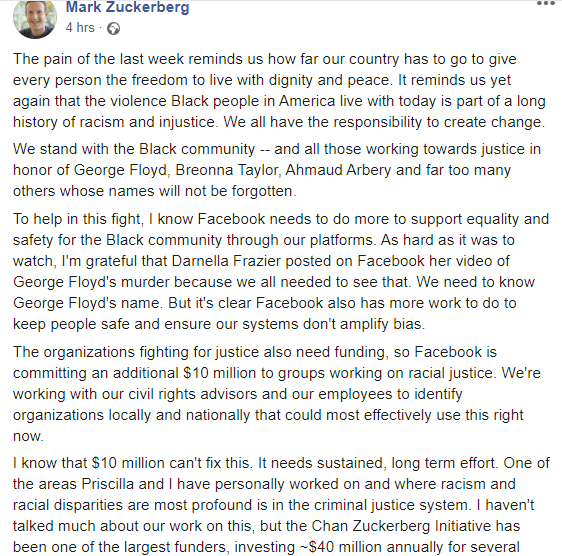 """We stand with the Black community"" Mark Zuckerberg discloses plans to use his platform to combat racial injustice"