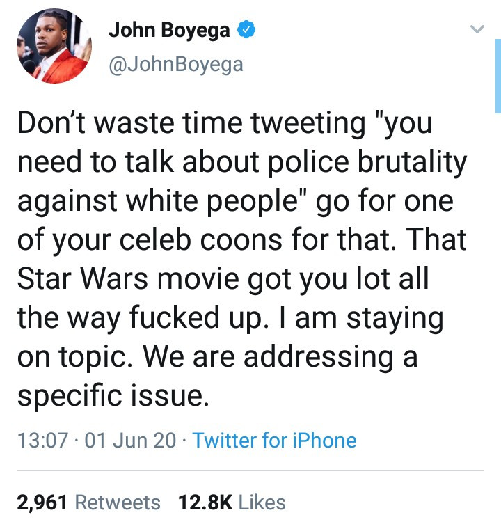 John Boyega hits out at those telling him to also address police brutality against White people