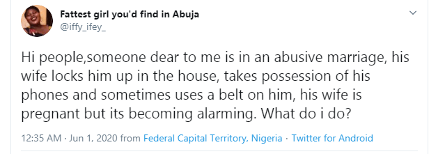 Lady seeks help for her brother who is being abused by his pregnant wife