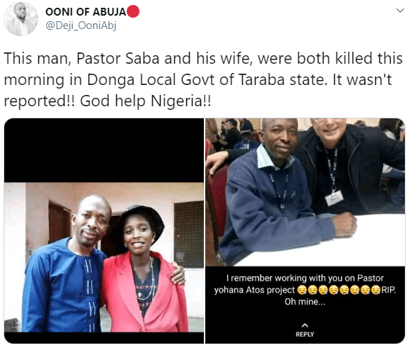 Pastor and his wife shot dead on their farm in Taraba