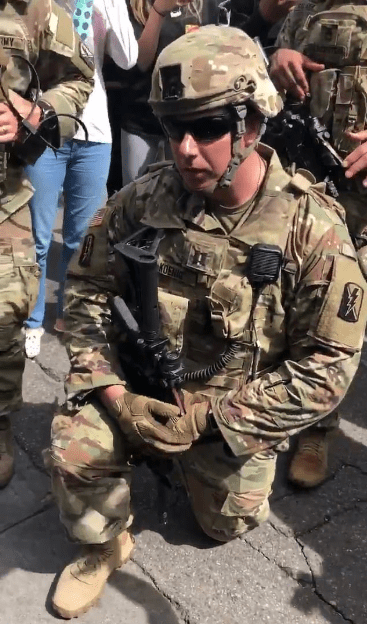 Keke Palmer convinces National Guard to take a knee in protest of police brutality after she attended a nationwide protest and gave an impassioned speech (video)