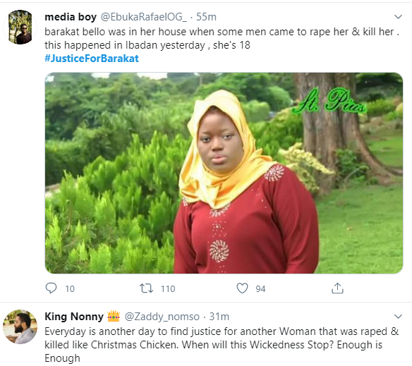 Justice for Barakat trends as 18-year-old is raped and murdered at home in Ibadan
