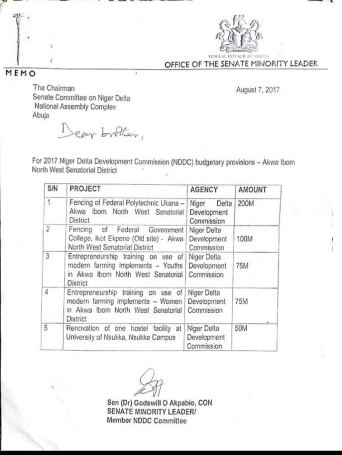 Akpabio got N300m fence construction contract from NDDC - Senator Peter Nwaoboshi