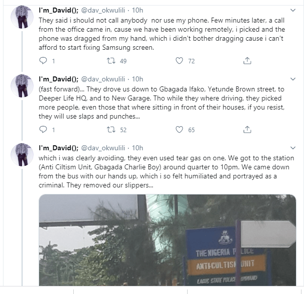 Nigerian man narrates how he was allegedly extorted by SARS officers who arrested him after getting a haircut in Lagos
