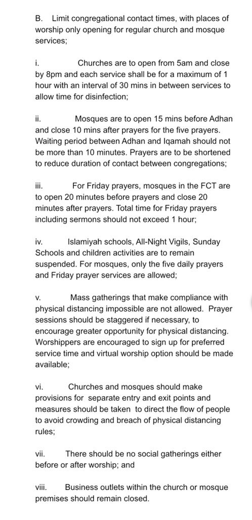 See the guidelines released by the FCTA on reopening of churches and mosques in Abuja