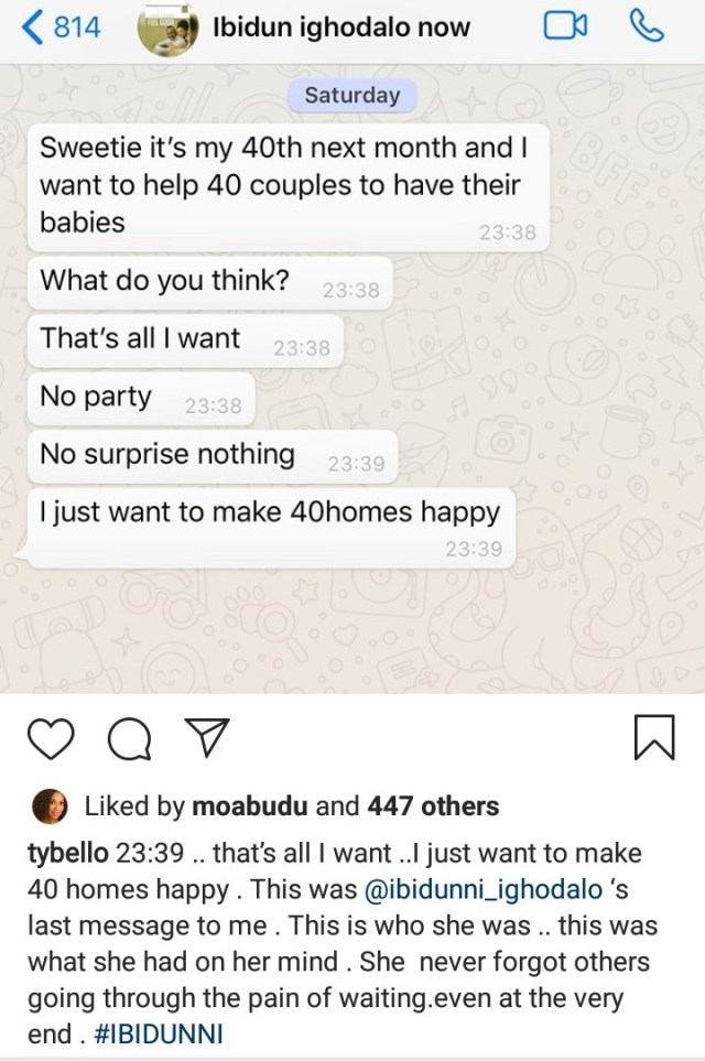TY Bello shares screenshots of the last message Ibidun Ighodalo sent to her to reveal plans for her 40th birthday