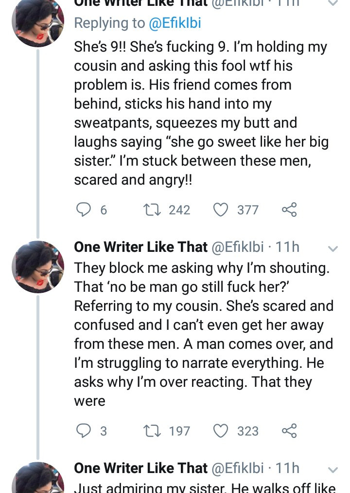 Writer left outraged after grown men harrassed her 9-year-old cousin then sexually assaulted and mocked her when she defended the girl