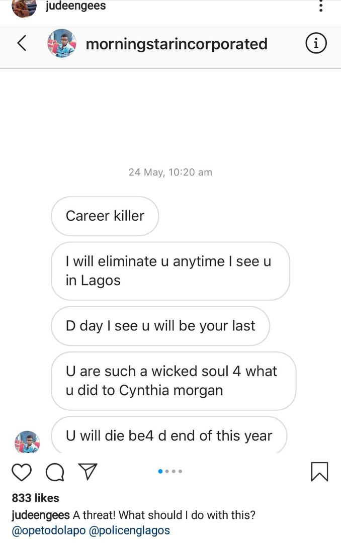 Jude Okoye shares screenshots of death threats he received from a man over?Cynthia Morgan