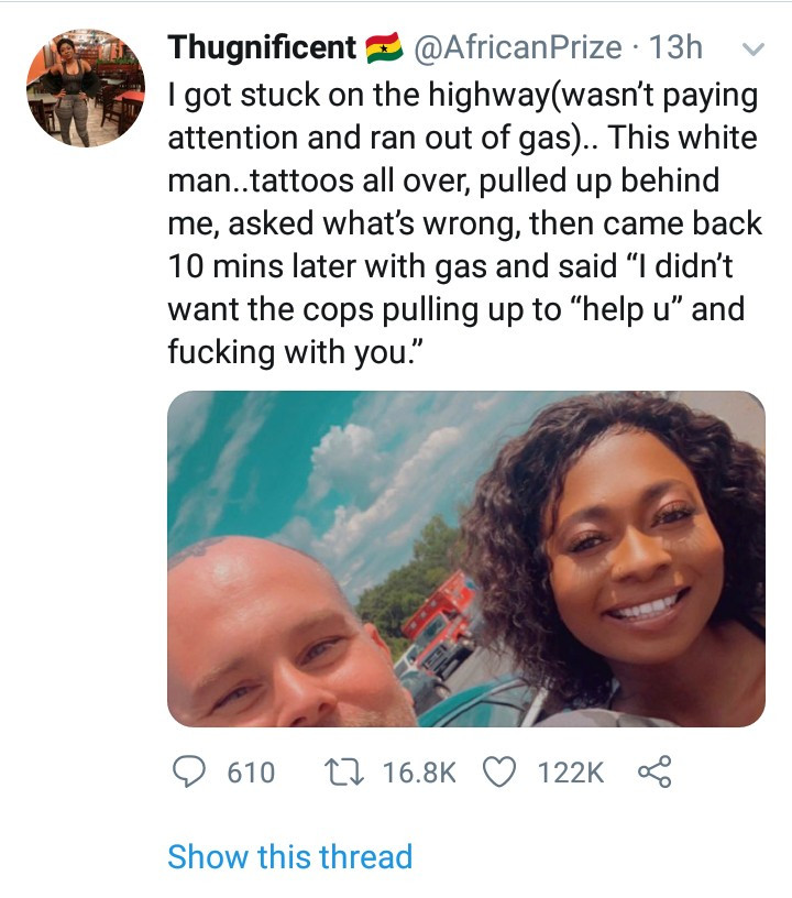 Black woman narrates her encounter with a white man who stopped to help her because he didn