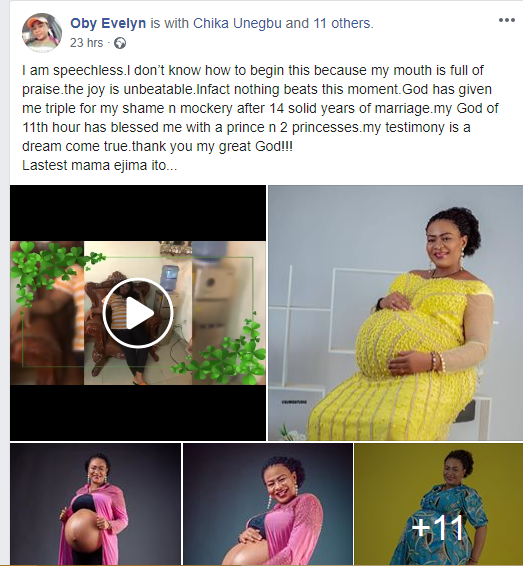 Nigerian lady welcomes triplets after 14 years of marriage