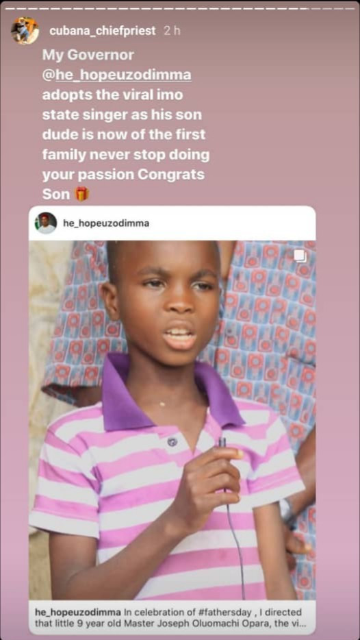 Imo State Governor, Hope Uzodinma adopts 9-year-old singer whose video went viral