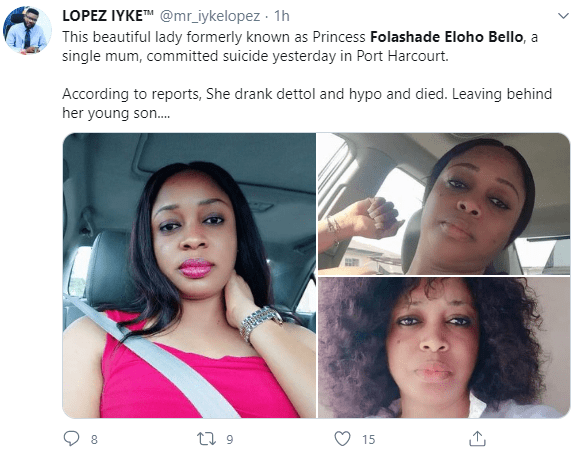 Single mum allegedly commits suicide in Port Harcourt after posting a cry for help on Facebook