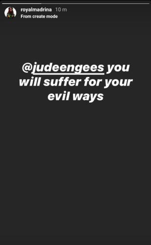 """Jude Okoye you will suffer for your evil ways"" Cynthia Morgan writes on Instagram"