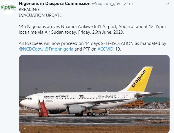 145 Nigerians evacuated from Sudan