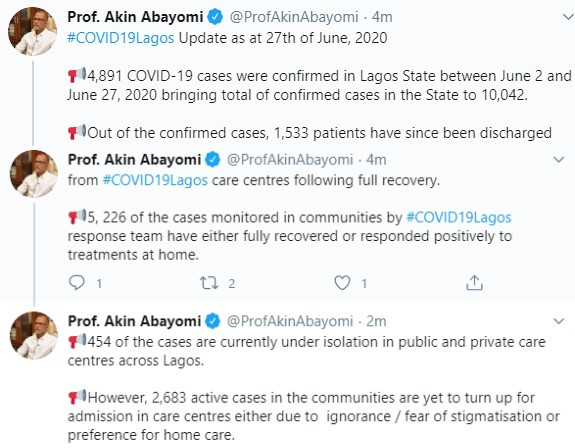 2,683 active COVID-19 cases are yet to turn up for admission in care centres- Lagos Commissioner for Health, Akin Abayomi