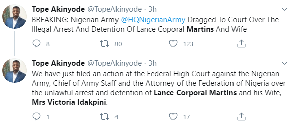 Nigerian army dragged to court over illegal detention of Lance Corporal Martins and his wife because of a video he released criticizing security chiefs in the country