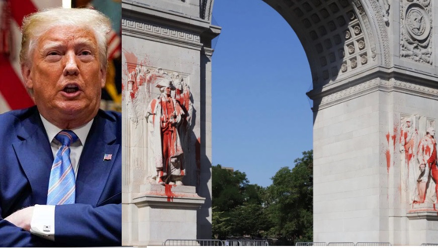 Trump threatens protesters who threw red paint on a George Washington statue with 10-year prison sentence (Photos)