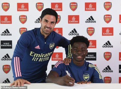 Bukayo Saka, 18, signs new long-term deal with Arsenal