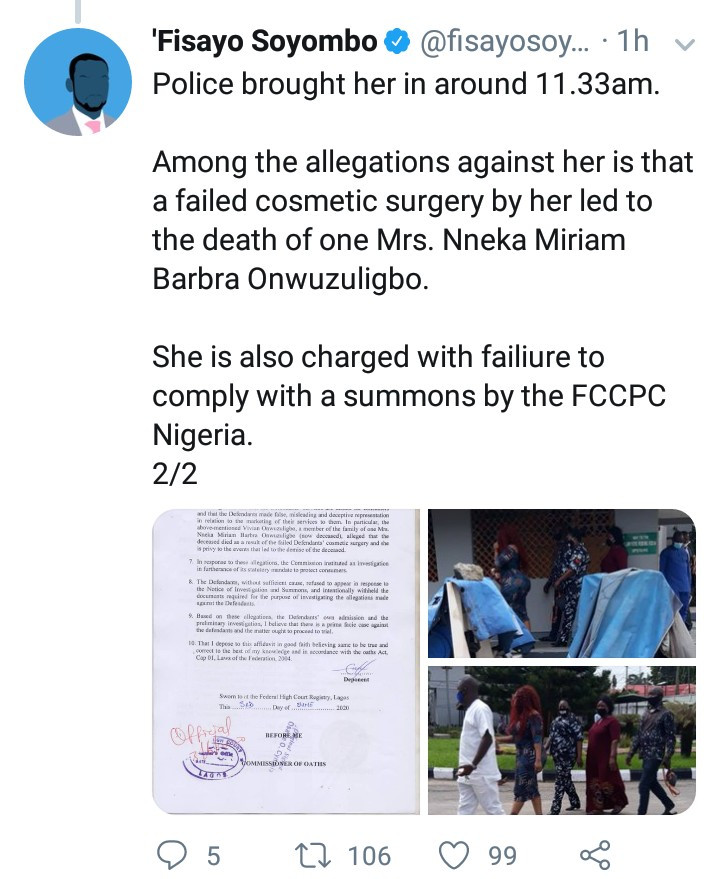 Dr Anu of Med Contour pictured in court as she