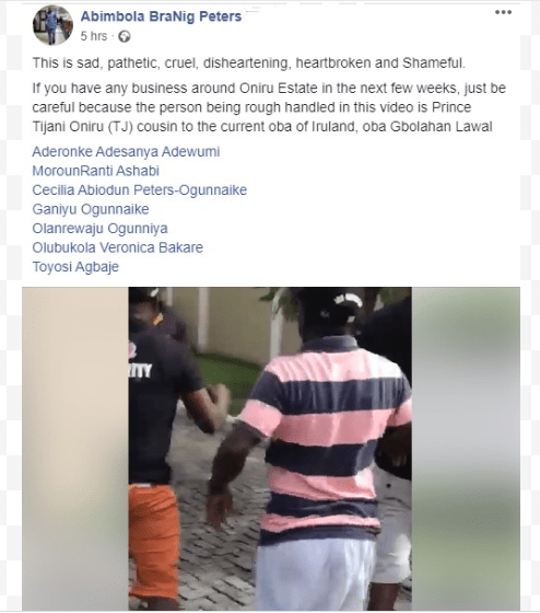 """Tijani Oniru, one of the sons of late Oba of Oniru attacked by """"security men"""" (video)"""