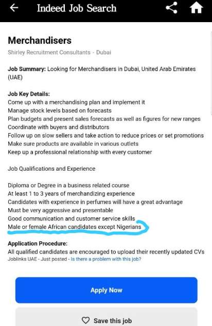 """""""Candidates of every nationality, except Nigerians, should apply"""" Mulitple Dubai companies begin rejecting Nigerian job applicants (photos)"""