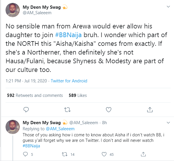 Kaisha: No sensible northerner would allow his daughter join BBNaija - Twitter user reacts to female northern housemate being unveiled on the show