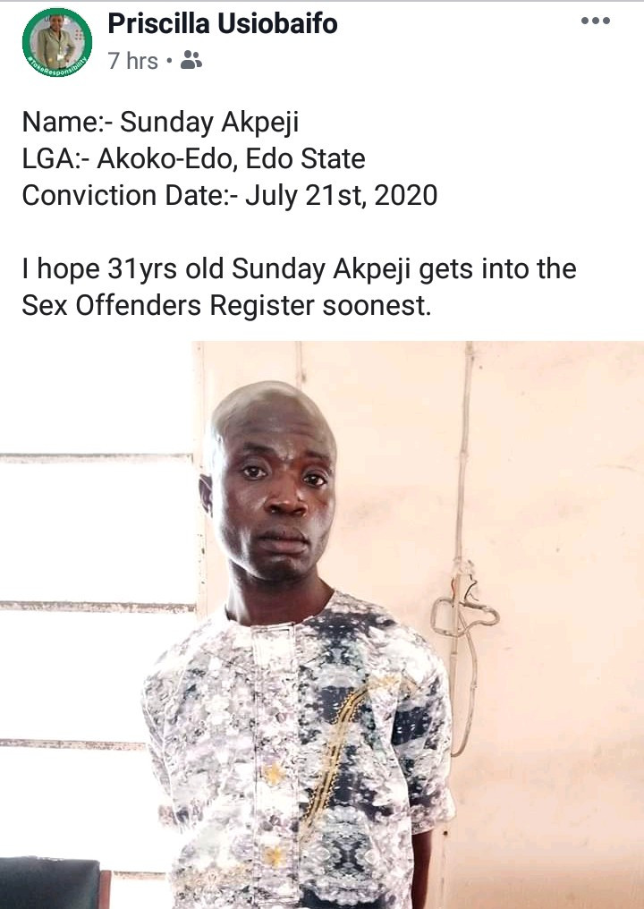 Man, 31, who raped 7-year-old girl in Edo state is sentenced to 9 years in prison
