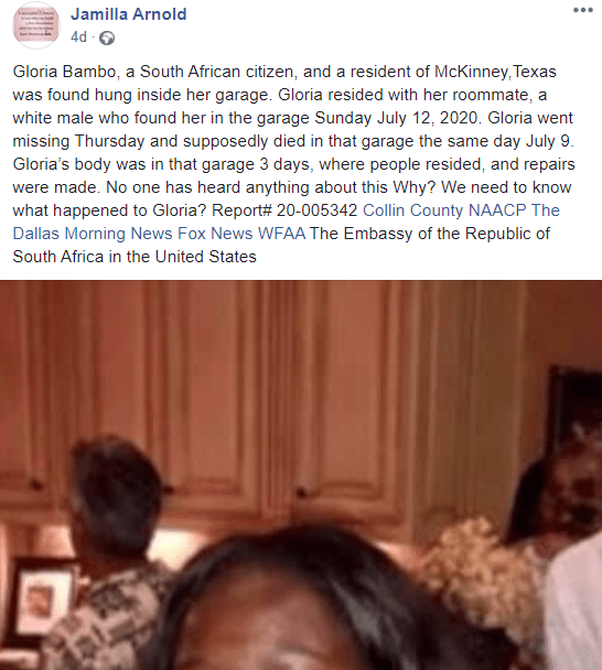 Black woman found dead in her white roommate