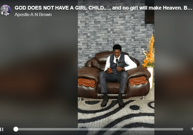 """Pastor called out for his message tagged """"God does not have a girl child... and no girl will make heaven"""""""