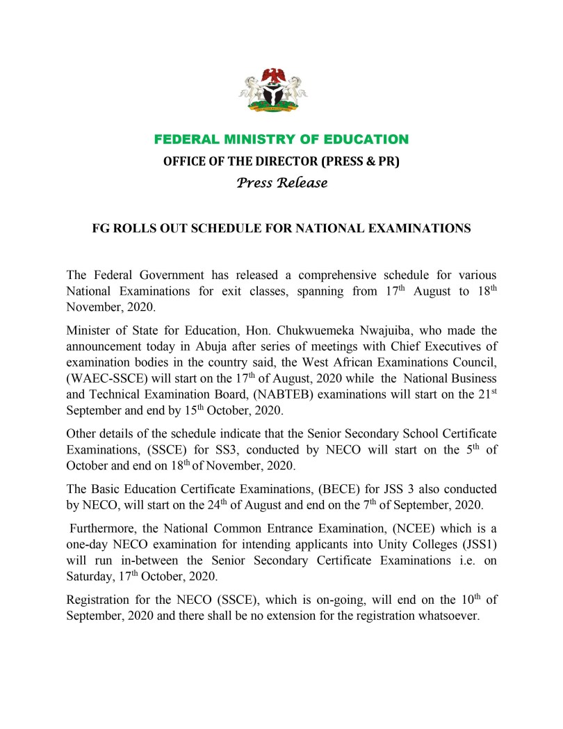 FG fixes NECO examinations for October 5 and National Common Entrance Examination for October 17