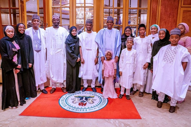 President Buhari observes Eid-Kabir prayers with his family and aides in Abuja (photos)