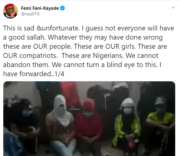 FFK calls for quick action to be taken following the release of a video showing Nigerian ladies stranded in Lebanon crying out for help to return home (video)