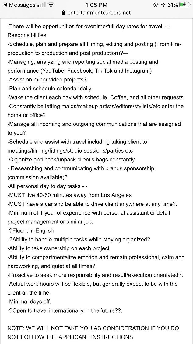 A famous YouTuber with 10 million followers wants to employ a personal assistant but her insane list of demands has left many horrified