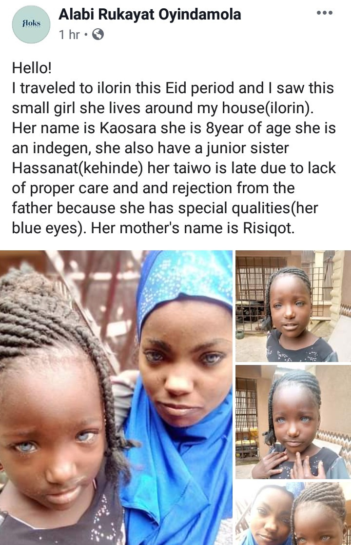 Kwara man allegedly rejects his daughter because she has blue eyes