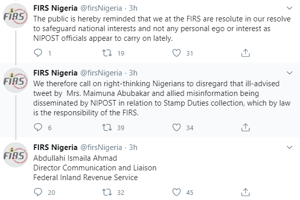 """FIRS replies to NIPOST Chairman Maimuna Abubakar; calls her a """"privileged young lady"""" after she took to Twitter to accuse them of stealing NIPOST"""
