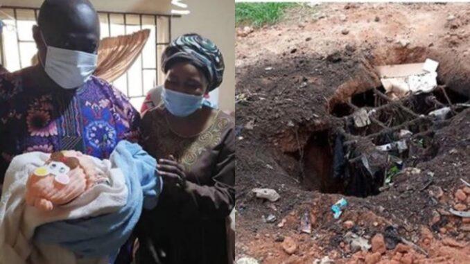 Newborn baby found dumped in soakaway pit is rescued by locals