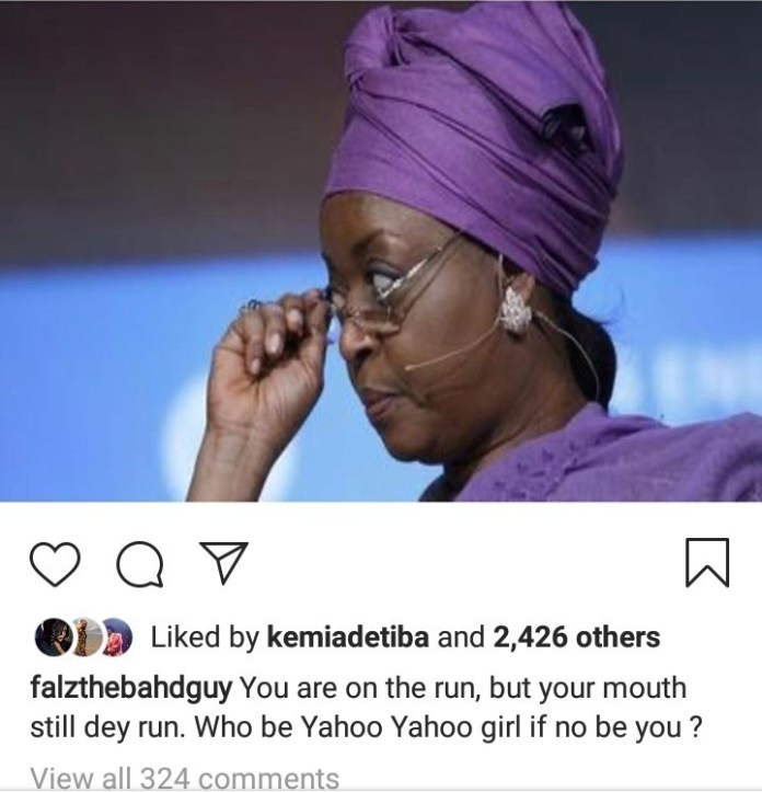 """Who be Yahoo Yahoo girl if no be you"" Falz slams Diezani Alison-Madueke"