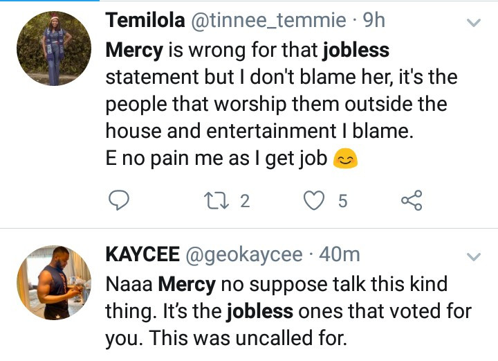 """""""So we that voted her are jobless?"""" Nigerians react as BBNaija"""