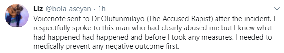 """""""Funmilayo lied"""" Doctor who accused popular Twitter user, Doctor Olufunmilayo of rape releases"""
