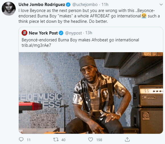 """Do better"" Uche Jombo criticizes New York Post for a headline that insinuates Beyonce"