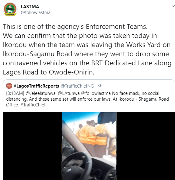 LASTMA officers to be reprimanded after they were filmed breaking COVID-19 safety guidelines while on duty