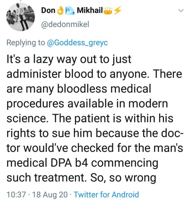 Twitter stories: accident victim to sue doctor for giving him blood to revive him when he was unconscious