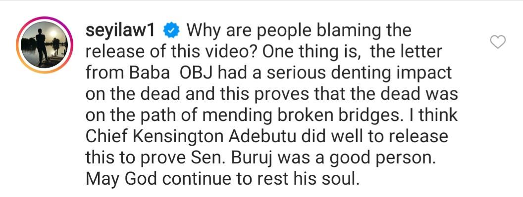Nigerians react as video of late Senator Kashamu Buruji asking billionaire businessman, Chief Kessington Adebutu for forgiveness before his death, leaks