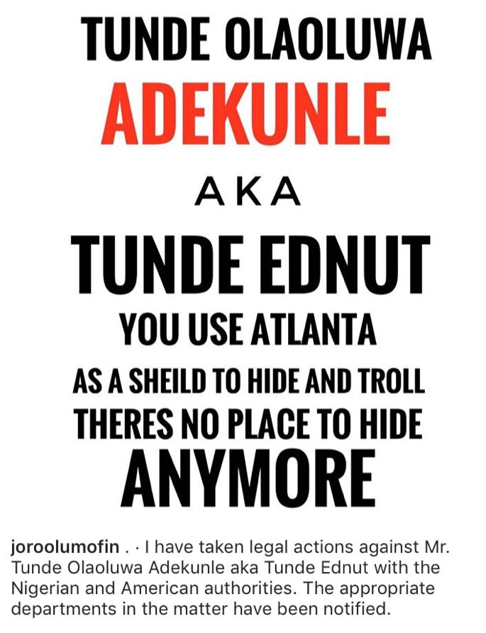 Joro Olumofin takes legal action against Tunde Ednut in the US as their beef intensifies